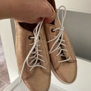 Toms rose gold metallic leather sneakers